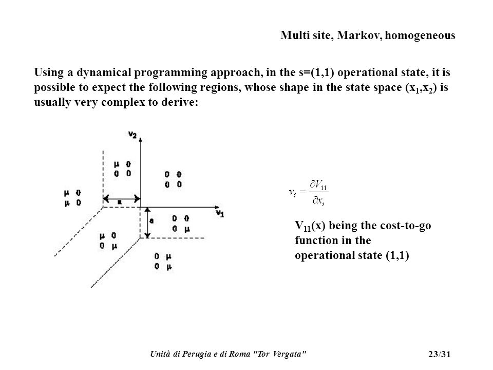 Unità di Perugia e di Roma Tor Vergata 23/31 Multi site, Markov, homogeneous Using a dynamical programming approach, in the s=(1,1) operational state, it is possible to expect the following regions, whose shape in the state space (x 1,x 2 ) is usually very complex to derive: V 11 (x) being the cost-to-go function in the operational state (1,1)