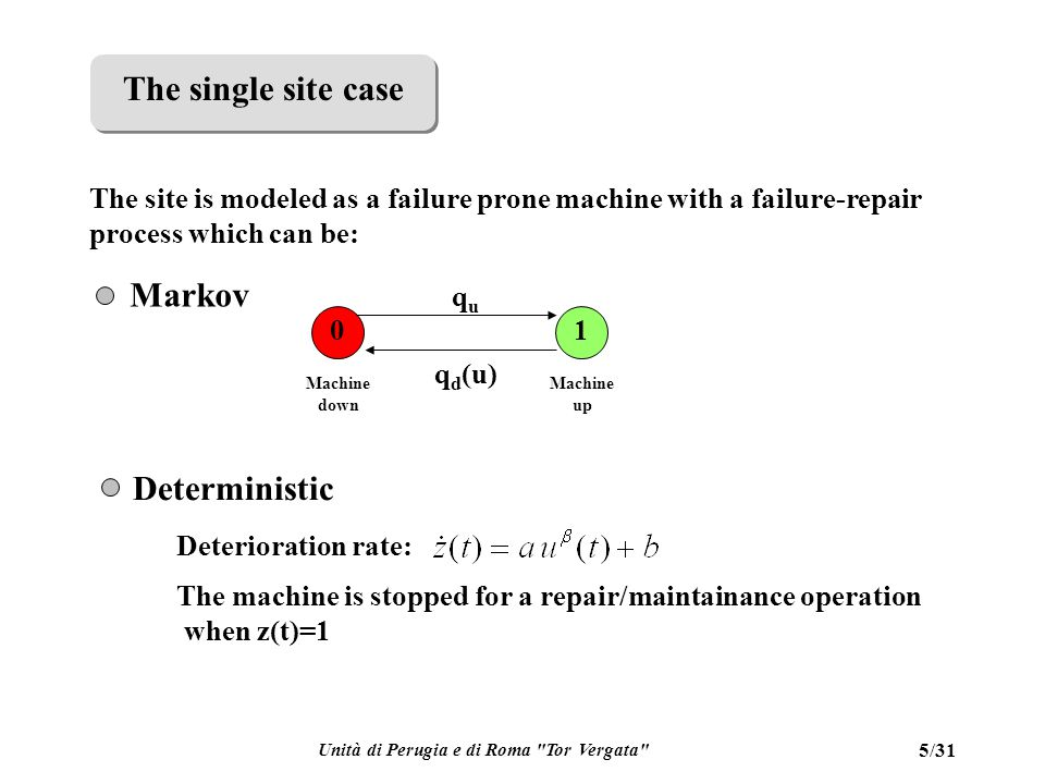Unità di Perugia e di Roma Tor Vergata 5/31 01 Machine down Machine up ququ q d (u) Markov The site is modeled as a failure prone machine with a failure-repair process which can be: Deterministic Deterioration rate: The machine is stopped for a repair/maintainance operation when z(t)=1 The single site case