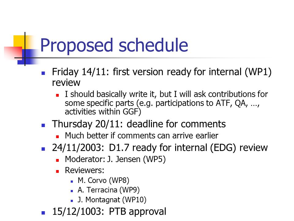Proposed schedule Friday 14/11: first version ready for internal (WP1) review I should basically write it, but I will ask contributions for some specific parts (e.g.