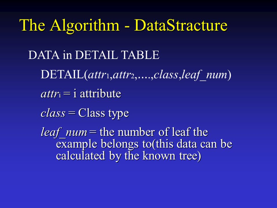 The Algorithm - DataStracture DATA in DETAIL TABLE DETAIL(attr 1,attr 2, ….,class,leaf_num) attr i = i attribute attr i = i attribute class = Class type class = Class type leaf_num = the number of leaf the example belongs to(this data can be calculated by the known tree) leaf_num = the number of leaf the example belongs to(this data can be calculated by the known tree)