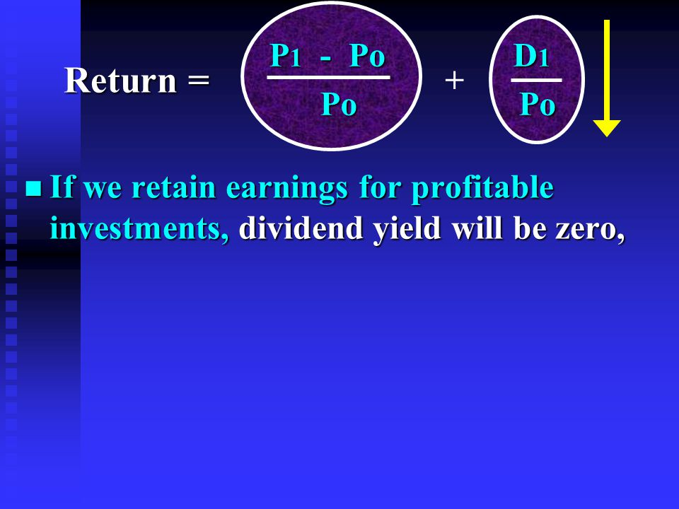 n If we retain earnings for profitable investments, dividend yield will be zero, P 1 - Po D 1 P 1 - Po D 1 Po Po Po Po + Return =