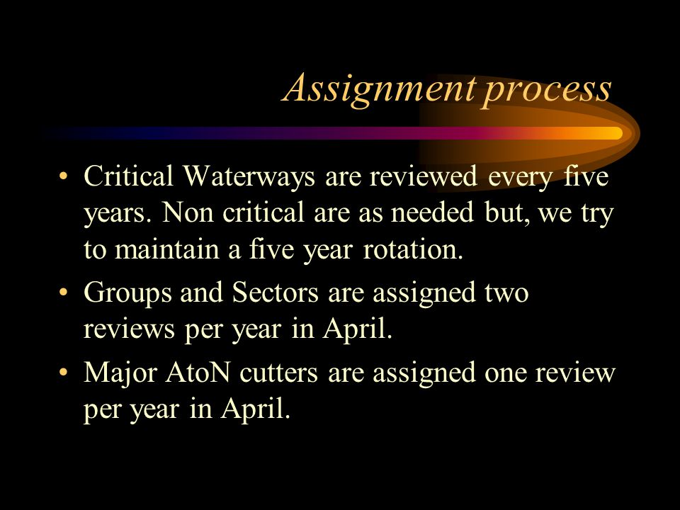 Assignment process Critical Waterways are reviewed every five years.