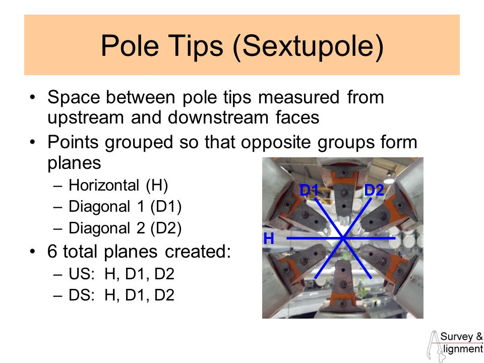 12 Pole Tips (Sextupole) Space between pole tips measured from upstream and downstream faces Points grouped so that opposite groups form planes –Horizontal (H) –Diagonal 1 (D1) –Diagonal 2 (D2) 6 total planes created: –US: H, D1, D2 –DS: H, D1, D2 H D1D2
