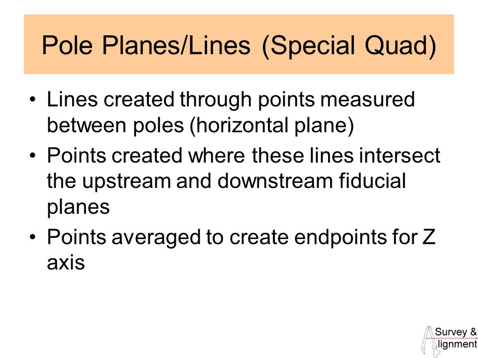 19 Pole Planes/Lines (Special Quad) Lines created through points measured between poles (horizontal plane) Points created where these lines intersect the upstream and downstream fiducial planes Points averaged to create endpoints for Z axis