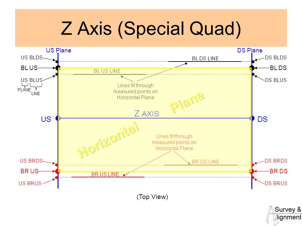 20 Z Axis (Special Quad) US PlaneDS Plane BL DS USDS Z AXIS (Top View) US BLDS US BLUS DS BLDS DS BLUS BL US BL DS LINE BL US LINE BR DS US BRDS US BRUS DS BRDS DS BRUS BR US BR DS LINE BR US LINE PLANE LINE Lines fit through measured points on Horizontal Plane Horizontal Plane