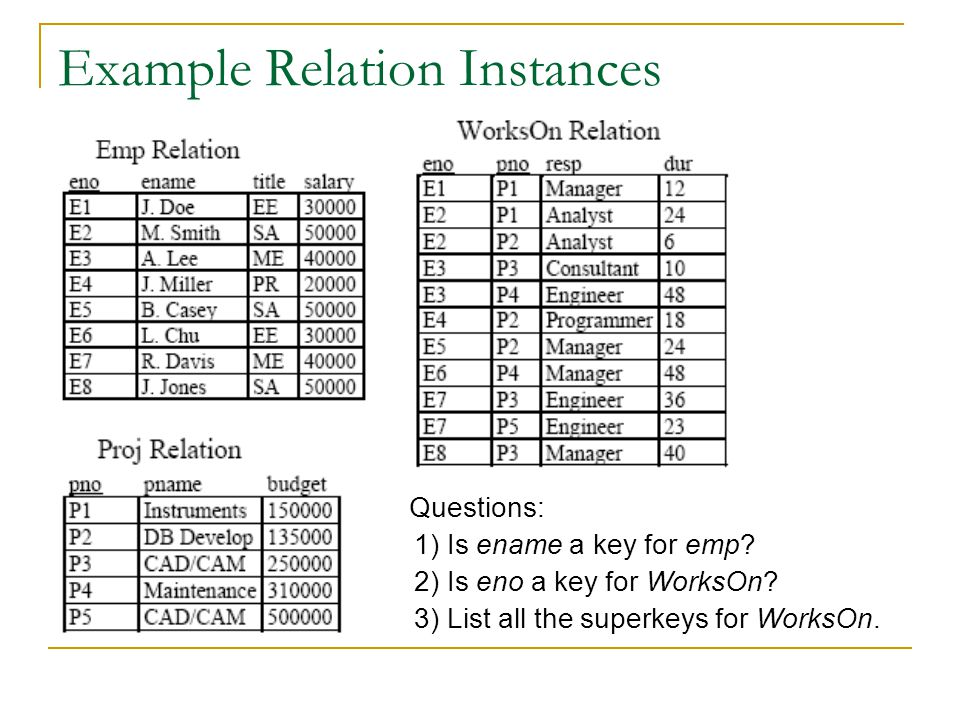 Example Relation Instances Questions: 1) Is ename a key for emp.