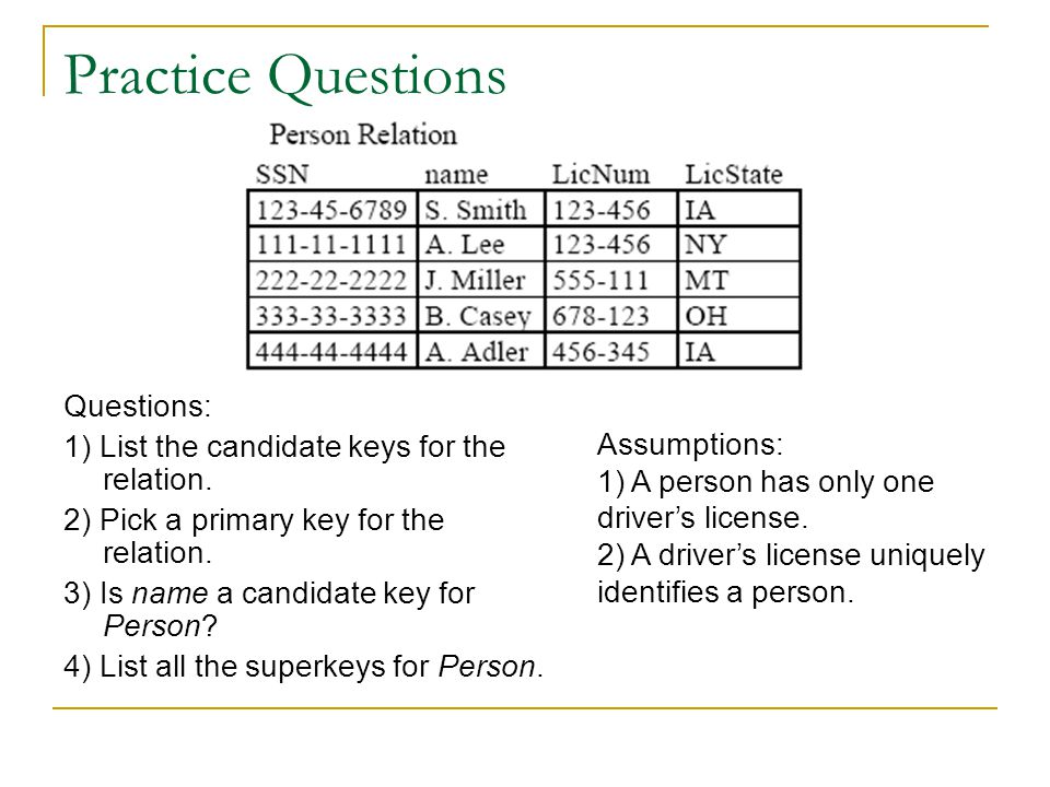 Practice Questions Questions: 1) List the candidate keys for the relation.
