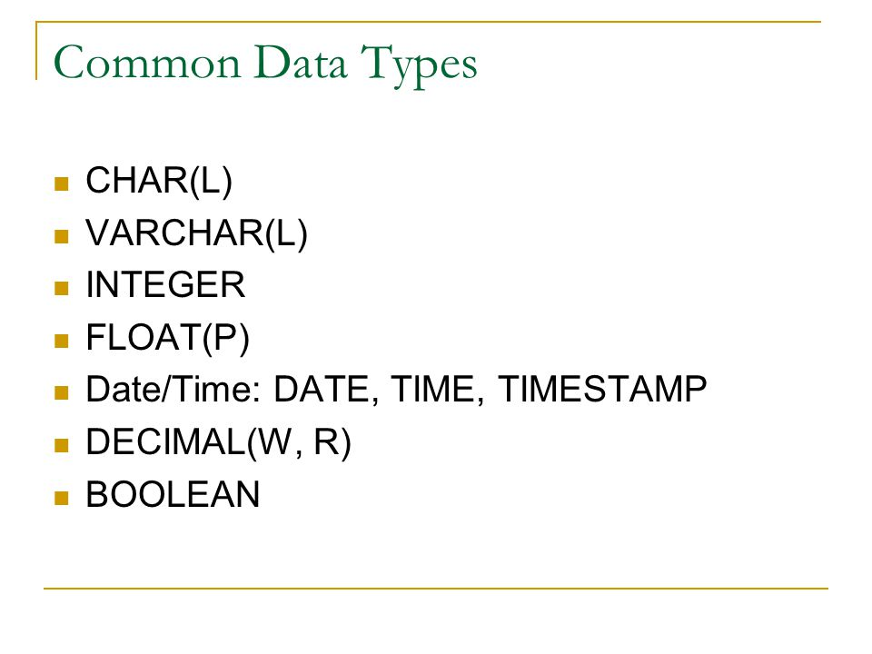 Common Data Types CHAR(L) VARCHAR(L) INTEGER FLOAT(P) Date/Time: DATE, TIME, TIMESTAMP DECIMAL(W, R) BOOLEAN