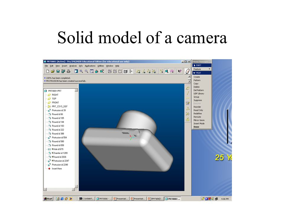Solid model of a camera
