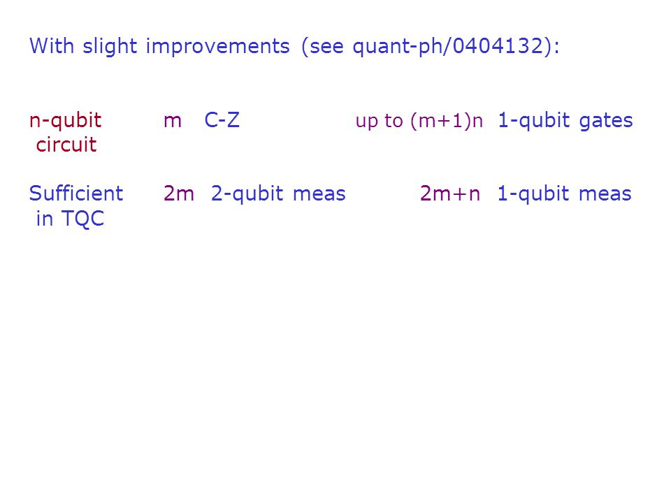 With slight improvements (see quant-ph/0404132): n-qubitm C-Z up to (m+1)n 1-qubit gates circuit Sufficient 2m 2-qubit meas 2m+n 1-qubit meas in TQC