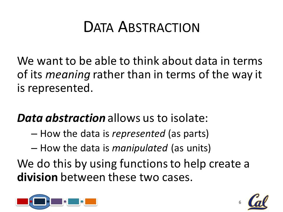 6 D ATA A BSTRACTION We want to be able to think about data in terms of its meaning rather than in terms of the way it is represented.