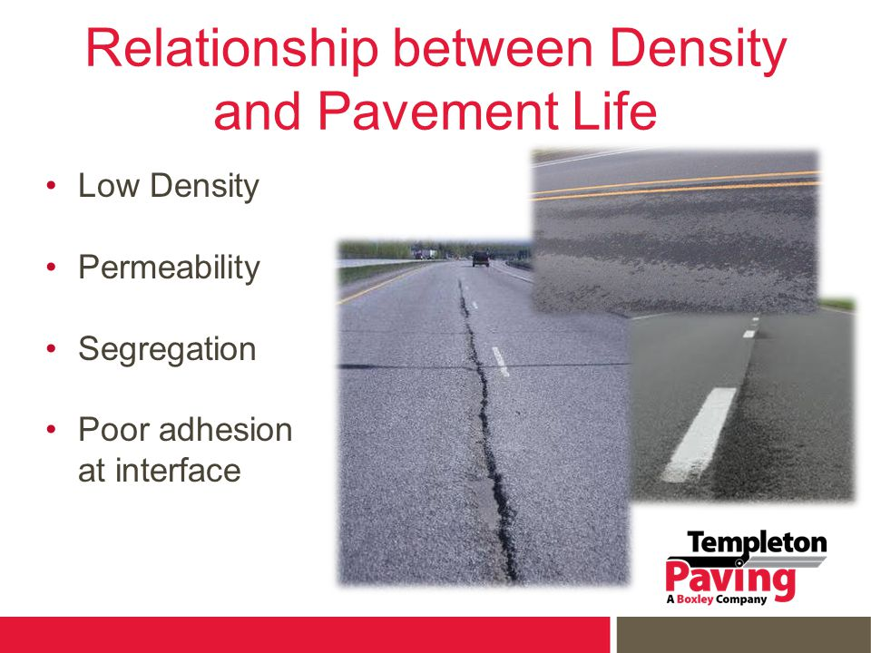 Relationship between Density and Pavement Life Low Density Permeability Segregation Poor adhesion at interface
