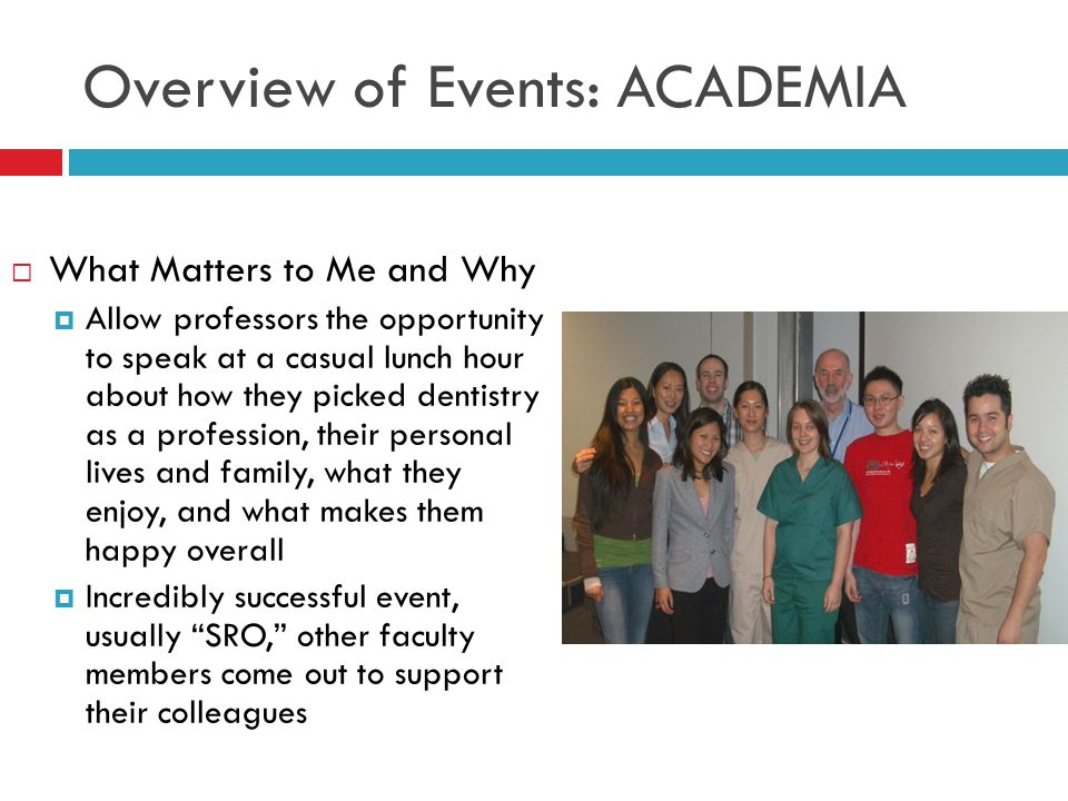 Overview of Events: ACADEMIA  What Matters to Me and Why  Allow professors the opportunity to speak at a casual lunch hour about how they picked dentistry as a profession, their personal lives and family, what they enjoy, and what makes them happy overall  Incredibly successful event, usually SRO, other faculty members come out to support their colleagues