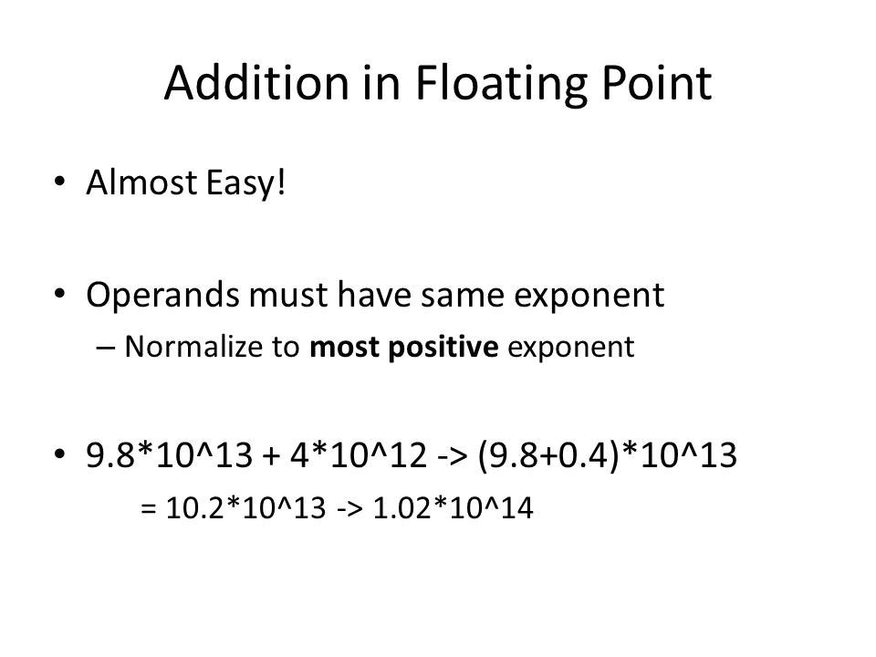 Addition in Floating Point Almost Easy.
