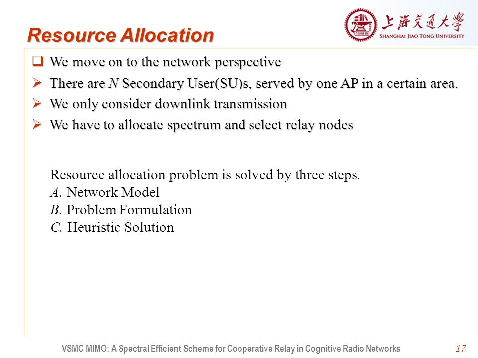 17  We move on to the network perspective  There are N Secondary User(SU)s, served by one AP in a certain area.