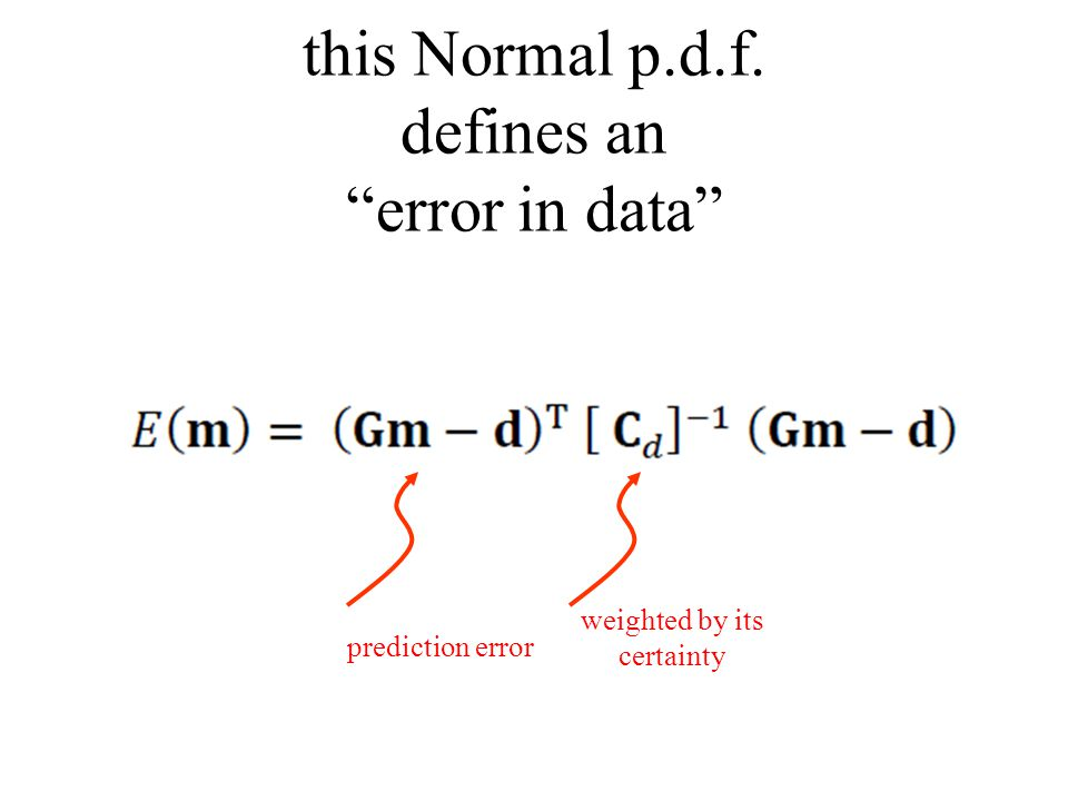 this Normal p.d.f. defines an error in data weighted by its certainty prediction error