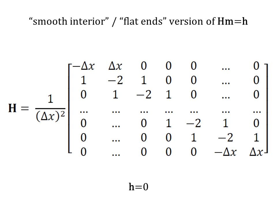 smooth interior / flat ends version of Hm=h h=0