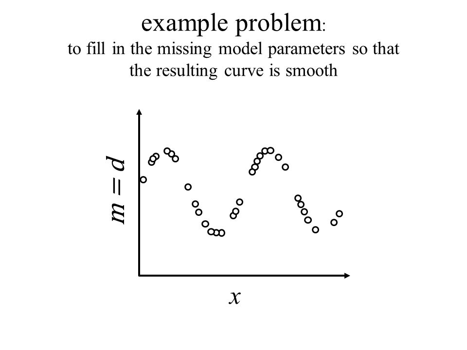 x m = d example problem : to fill in the missing model parameters so that the resulting curve is smooth