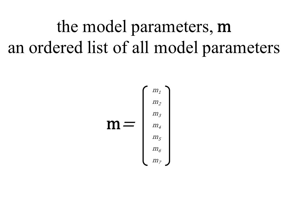 the model parameters, m an ordered list of all model parameters m1m1 m2m2 m3m3 m4m4 m5m5 m6m6 m7m7 m=m=