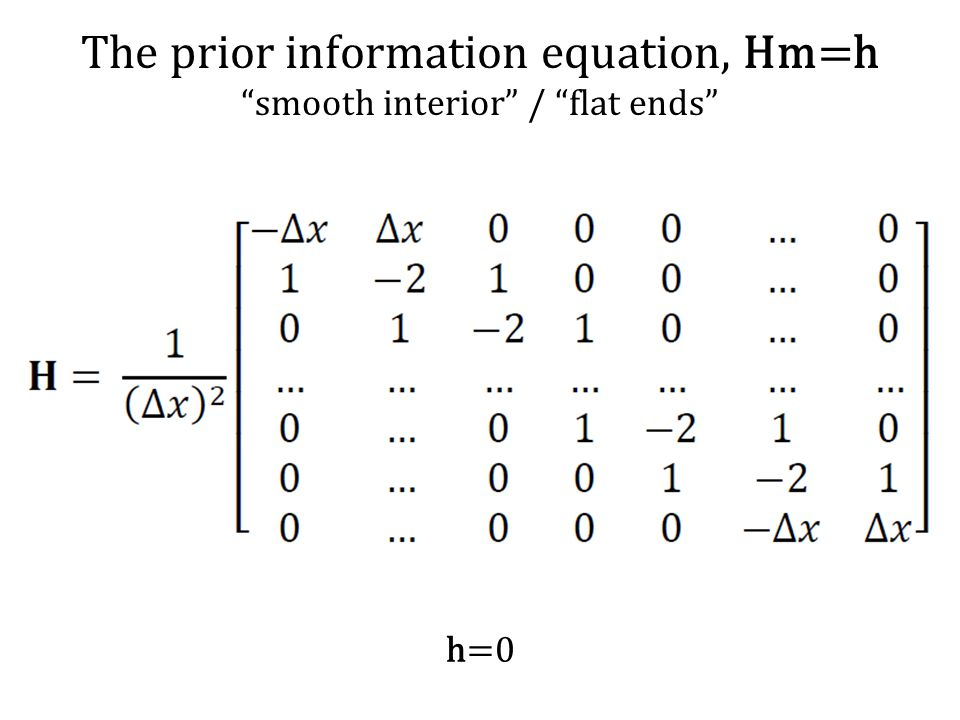The prior information equation, Hm=h smooth interior / flat ends h=0