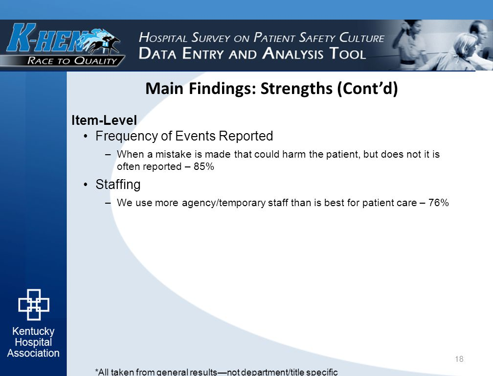 Main Findings: Strengths (Cont'd) Item-Level Frequency of Events Reported –When a mistake is made that could harm the patient, but does not it is often reported – 85% Staffing –We use more agency/temporary staff than is best for patient care – 76% 18 *All taken from general results—not department/title specific