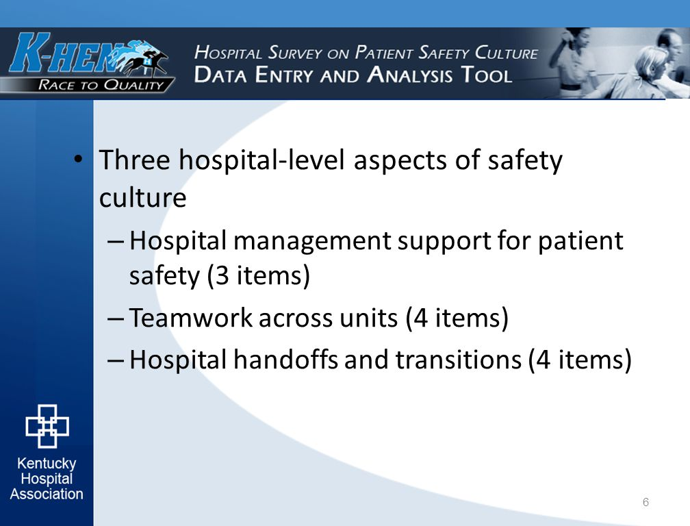 Three hospital-level aspects of safety culture – Hospital management support for patient safety (3 items) – Teamwork across units (4 items) – Hospital handoffs and transitions (4 items) 6