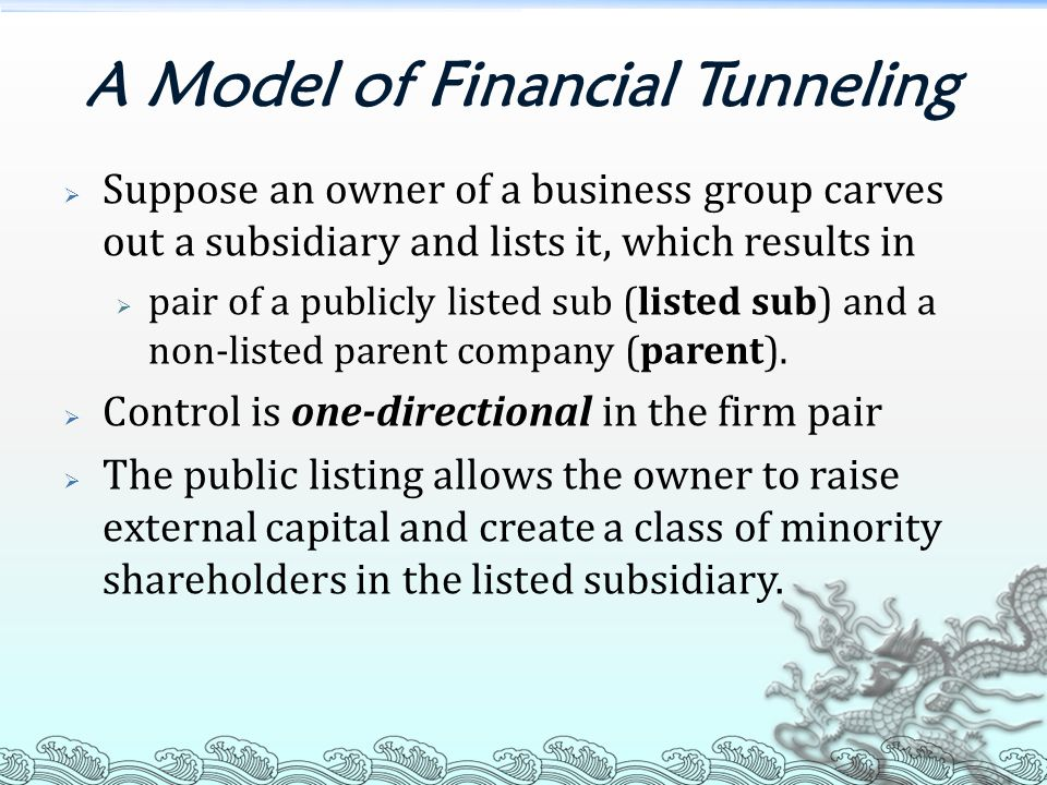 A Model of Financial Tunneling  Suppose an owner of a business group carves out a subsidiary and lists it, which results in  pair of a publicly listed sub (listed sub) and a non-listed parent company (parent).