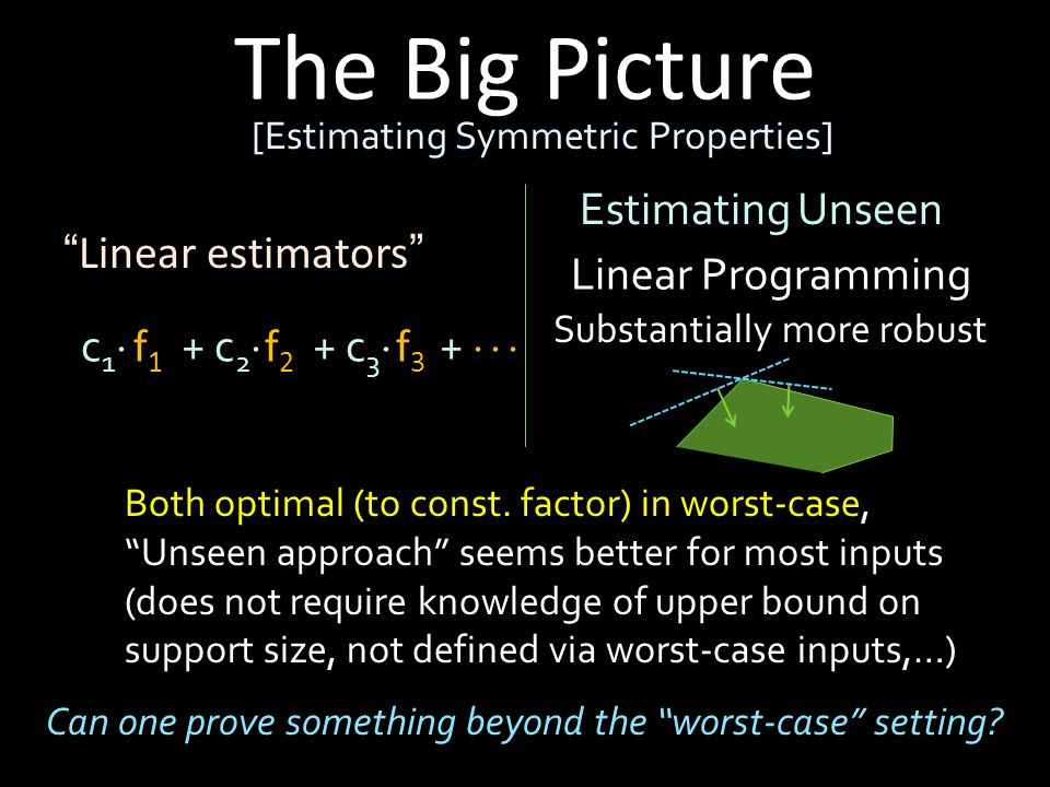 The Big Picture [Estimating Symmetric Properties] Linear estimators f1f1 f2f2 f3f3 c1c1 + c 2  + c 3  +    Estimating Unseen Linear Programming Substantially more robust Both optimal (to const.