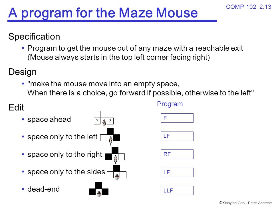 ©Xiaoying Gao, Peter Andreae COMP 102 2:13 A program for the Maze Mouse Specification Program to get the mouse out of any maze with a reachable exit (Mouse always starts in the top left corner facing right) Design make the mouse move into an empty space, When there is a choice, go forward if possible, otherwise to the left Edit space ahead space only to the left space only to the right space only to the sides dead-end .