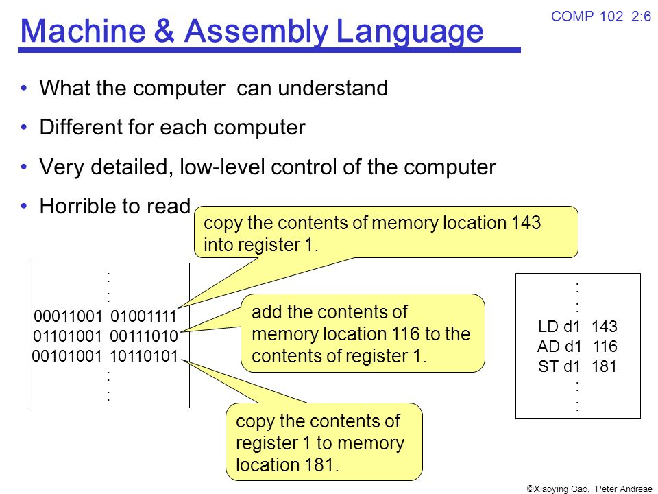 ©Xiaoying Gao, Peter Andreae COMP 102 2:6 Machine & Assembly Language What the computer can understand Different for each computer Very detailed, low-level control of the computer Horrible to read : 00011001 01001111 01101001 00111010 00101001 10110101 : copy the contents of memory location 143 into register 1.
