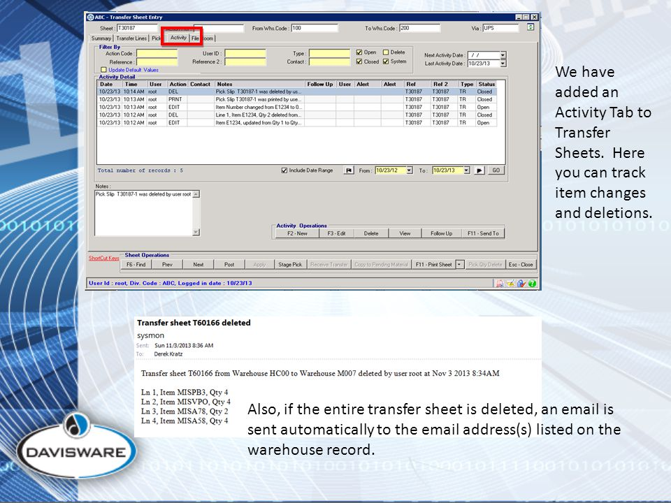 We have added an Activity Tab to Transfer Sheets. Here you can track item changes and deletions.