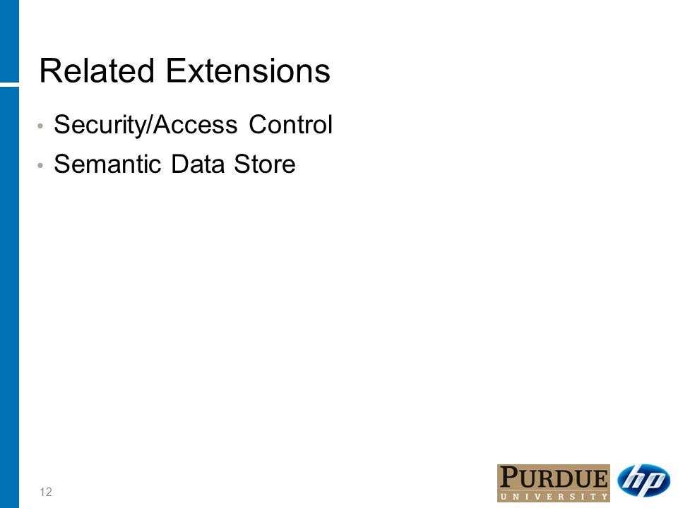 Related Extensions Security/Access Control Semantic Data Store 12