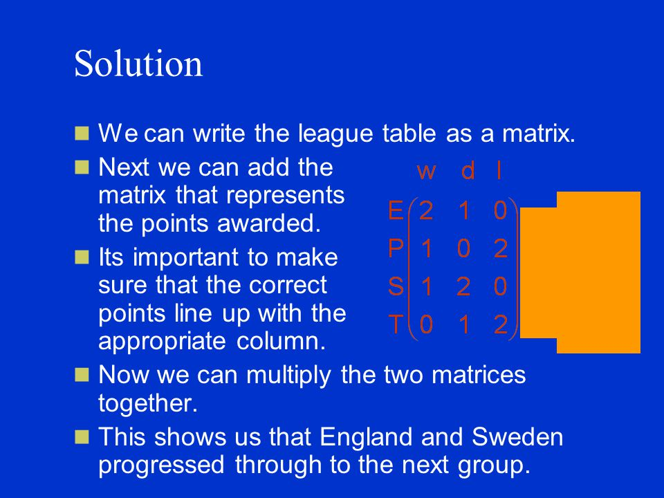 Solution We can write the league table as a matrix.