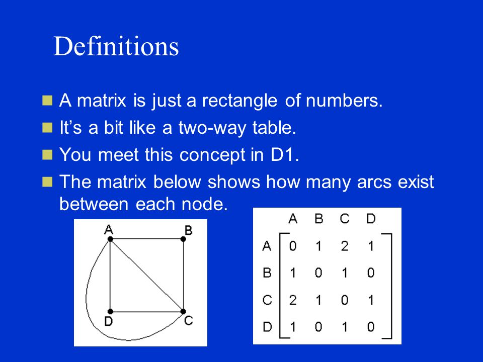 Definitions A matrix is just a rectangle of numbers.