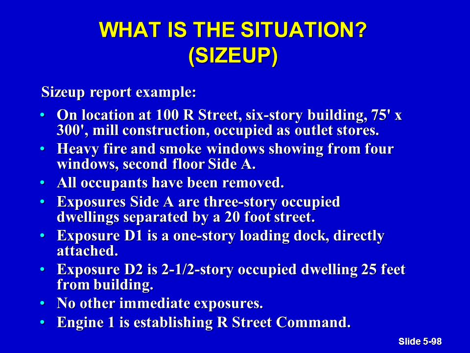 Slide 5-98 WHAT IS THE SITUATION.