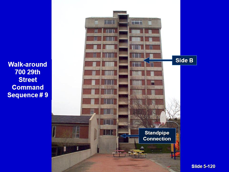 Slide 5-120 Side B Walk-around 700 29th Street Command Sequence # 9 StandpipeConnection