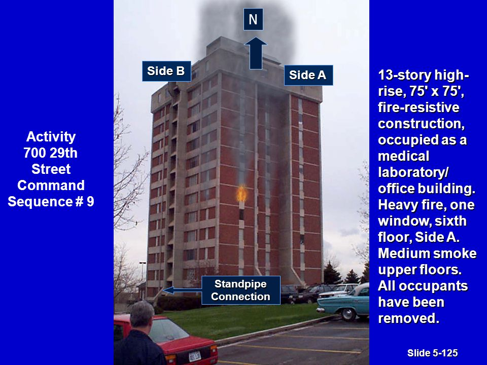 Slide 5-125 13-story high- rise, 75 x 75 , fire-resistive construction, occupied as a medical laboratory/ office building.