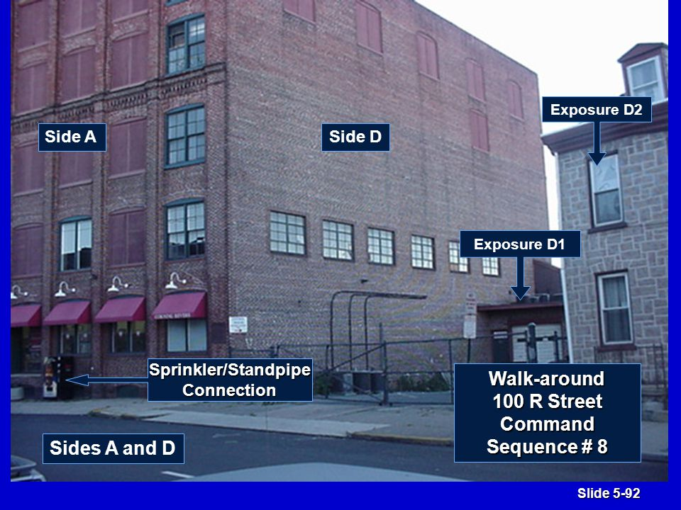 Slide 5-92 Side DSide A Sides A and D Exposure D1 Exposure D2 Sprinkler/StandpipeConnection Walk-around 100 R Street Command Sequence # 8