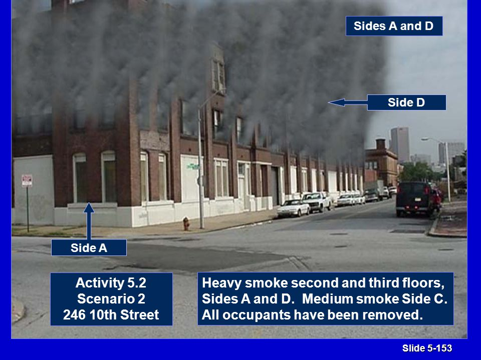 Slide 5-153 Activity 5.2 Scenario 2 246 10th Street Heavy smoke second and third floors, Sides A and D.