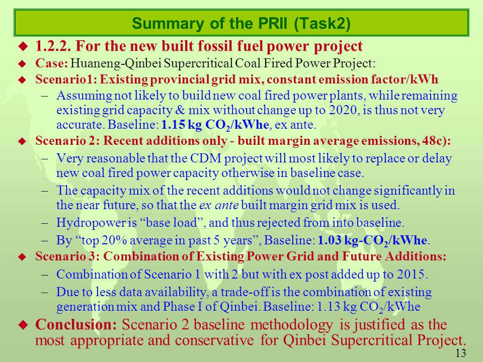 13 Summary of the PRII (Task2) u 1.2.2.