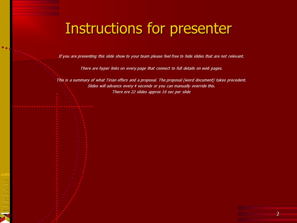 2 2 Instructions for presenter If you are presenting this slide show to your team please feel free to hide slides that are not relevant.