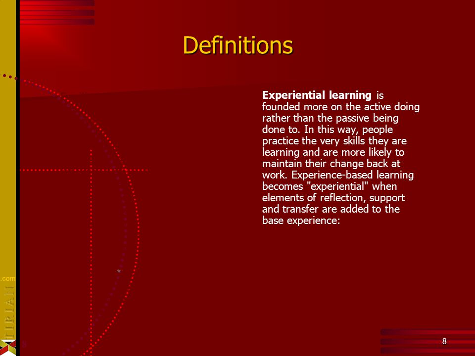 8 8 Definitions Experiential learning is founded more on the active doing rather than the passive being done to.