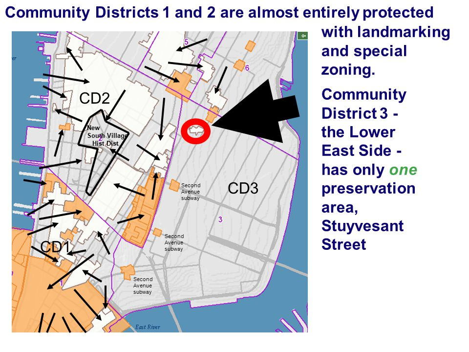 Community District 3 - the Lower East Side - has only one preservation area, Stuyvesant Street CD3 CD2 CD1 New South Village Hist Dist Second Avenue subway Community Districts 1 and 2 are almost entirely protected with landmarking and special zoning.