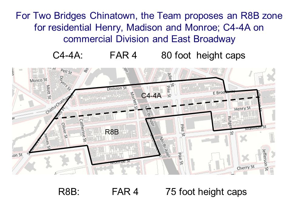 For Two Bridges Chinatown, the Team proposes an R8B zone for residential Henry, Madison and Monroe; C4-4A on commercial Division and East Broadway C4-4A: FAR 4 80 foot height caps R8B: FAR 4 75 foot height caps C4-4A R8B