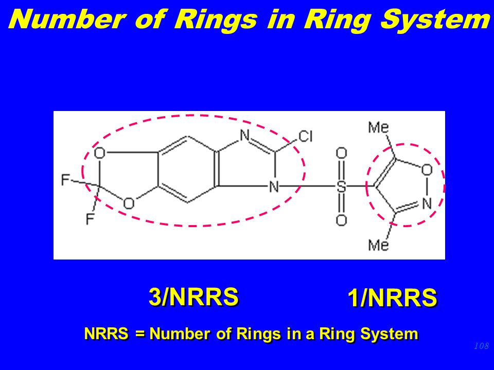 108 3/NRRS 1/NRRS NRRS = Number of Rings in a Ring System Number of Rings in Ring System