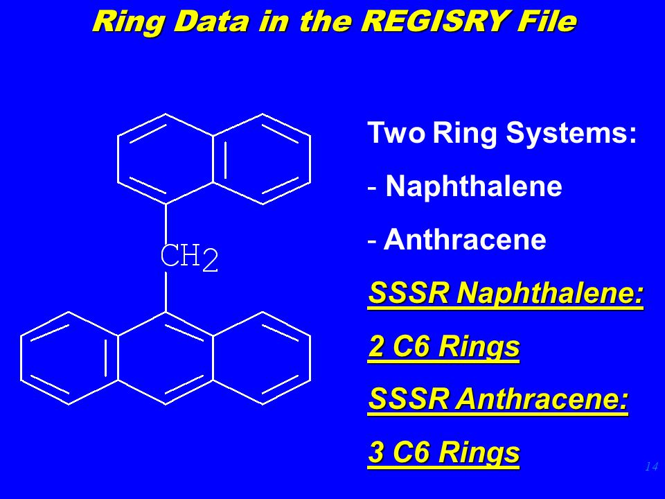 14 Two Ring Systems: - Naphthalene - Anthracene SSSR Naphthalene: 2 C6 Rings SSSR Anthracene: 3 C6 Rings Ring Data in the REGISRY File