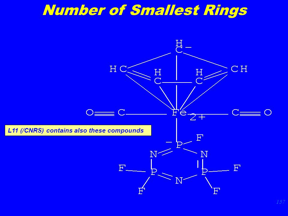 157 Number of Smallest Rings L11 (/CNRS) contains also these compounds
