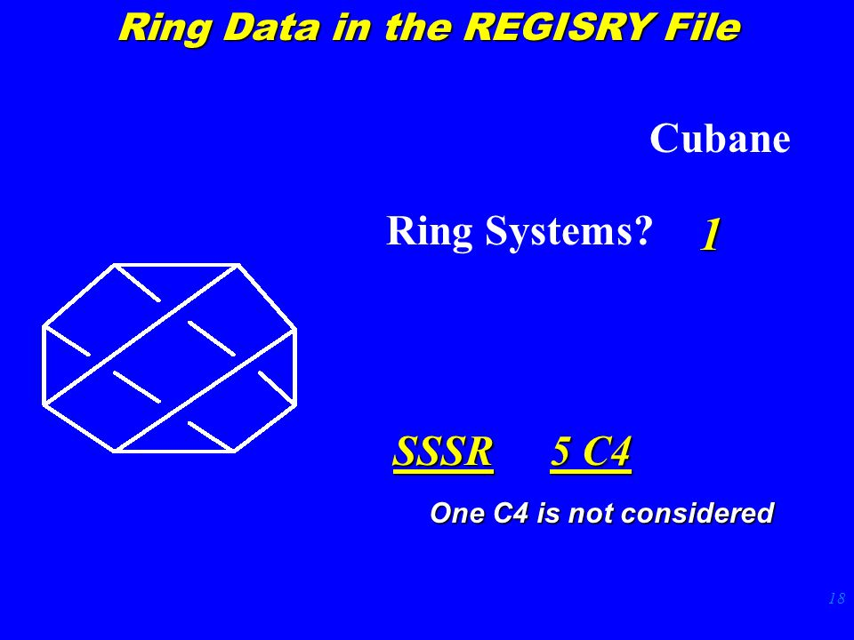 18 Cubane Ring Systems 1 SSSR 5 C4 Ring Data in the REGISRY File One C4 is not considered