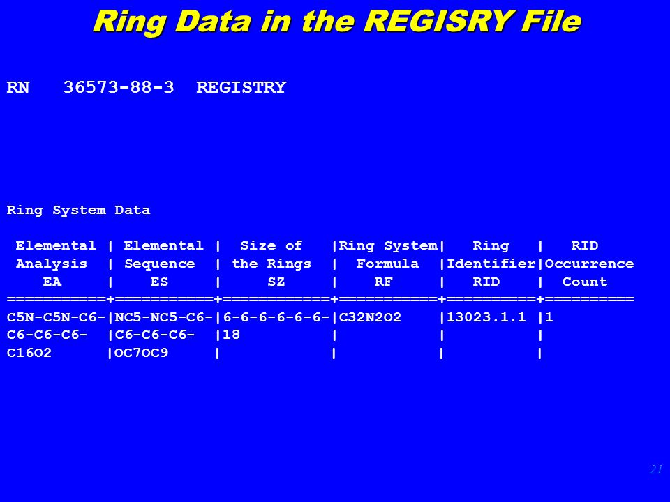 21 Ring Data in the REGISRY File RN 36573-88-3 REGISTRY Ring System Data Elemental | Elemental | Size of |Ring System| Ring | RID Analysis | Sequence | the Rings | Formula |Identifier|Occurrence EA | ES | SZ | RF | RID | Count ===========+===========+============+===========+==========+========== C5N-C5N-C6-|NC5-NC5-C6-|6-6-6-6-6-6-|C32N2O2 |13023.1.1 |1 C6-C6-C6- |C6-C6-C6- |18 | | | C16O2 |OC7OC9 | | | |
