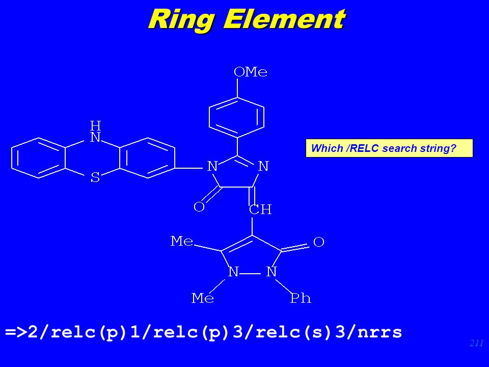 211 =>2/relc(p)1/relc(p)3/relc(s)3/nrrs Which /RELC search string Ring Element